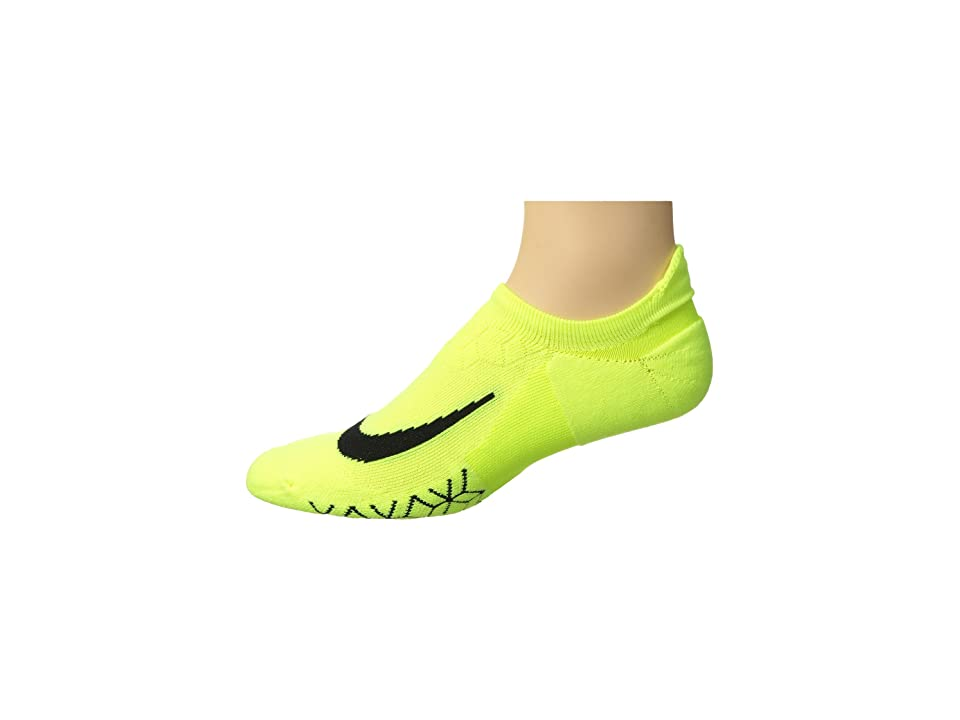 Nike Elite Cushion No-Show Tab Running Socks (Volt/Black) No Show Socks Shoes