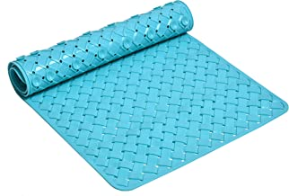 Yellow Weaves? Non Slip PVC Bath/Shower mat with Anti Slip Suction Cups; 38 X 78 cm(Blue)