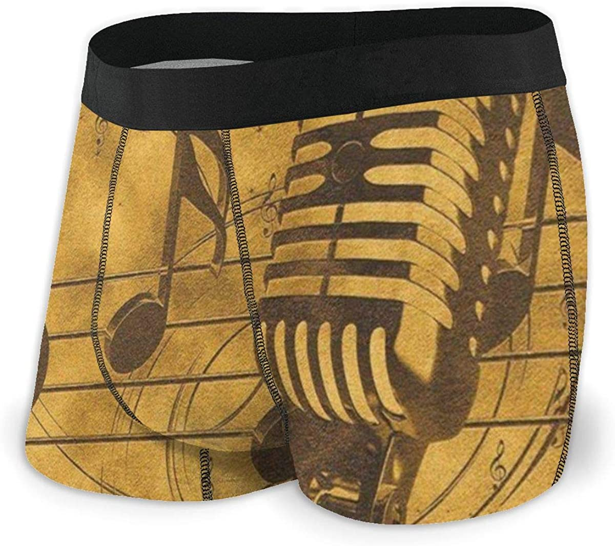 Mens Boxer Briefs Vintage Microphone Musical Retro Breathable Underwear