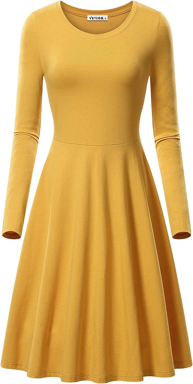 VETIOR Long Sleeve Dress for Women Casual Autumn Swing Midi Dresses for Women Dress