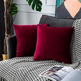 UPOPO Juego de 2 fundas de cojín de terciopelo, decorativas de un solo color, para sofá, dormitorio, salón, con cremallera, 55 x 55 cm, color rojo vino