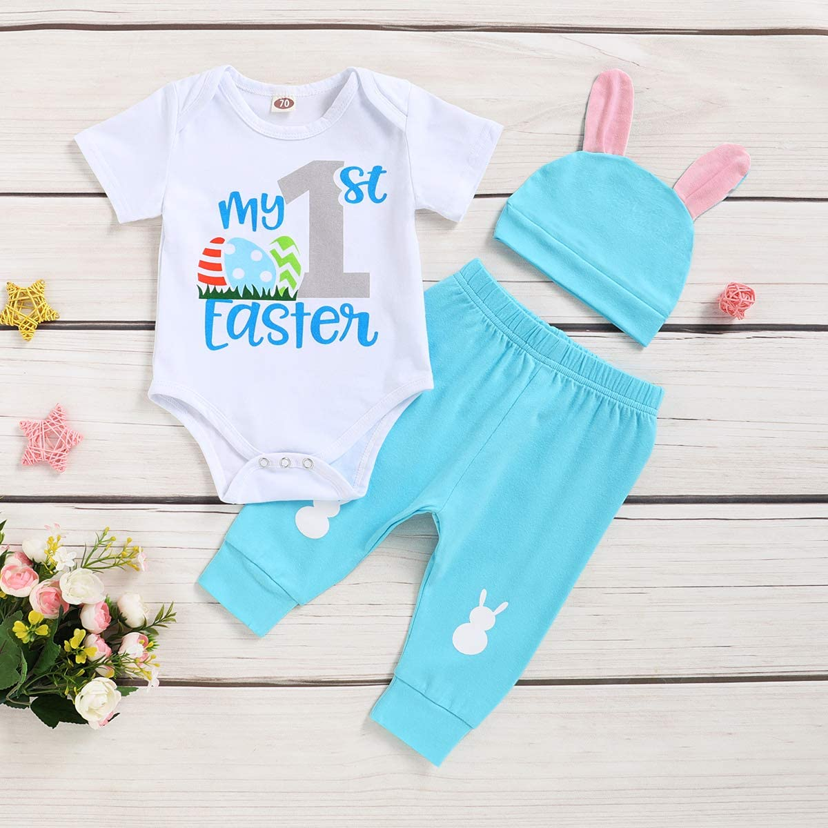 Baby Boys Easter Outfit Infant Boy My First Easter Romper + Rabbit Cardigan + Pants 3PCs Outfits