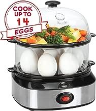 Egg Cooker , PowCube Deluxe Steamer Egg Boiler with Two Layers 14 Eggs Capacity-Black