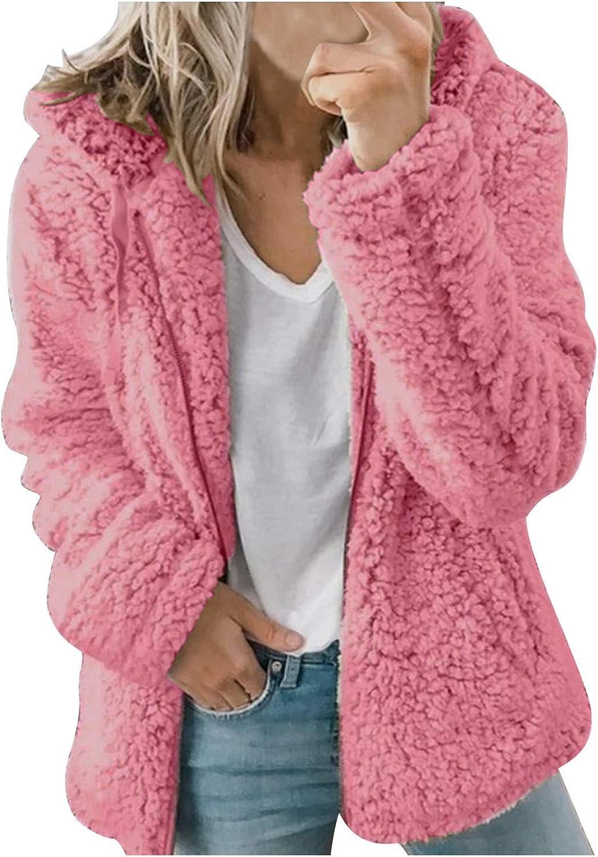 Women's Coat Casual Lapel Fleece Fuzzy Faux Shearling Zipper Warm Winter Outwear Jackets Long Sleeve Jacket with Pockets