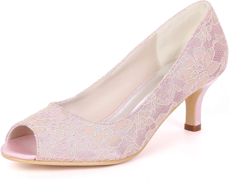 Myloo Women's Peep Toe Comfort Low Heel Pumps Lace Bridal Wedding shoes