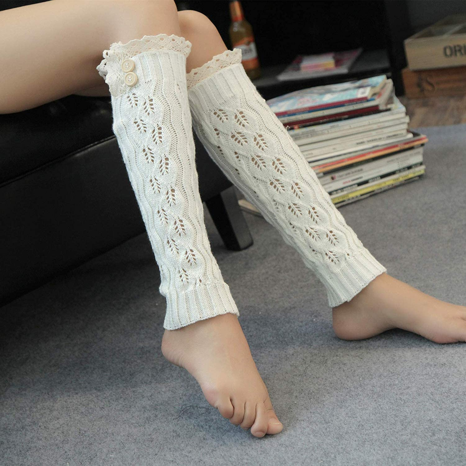Comfortable Arm Warmer Leg Stocking Openwork Leaf lace Button Foot Cover (color   White)