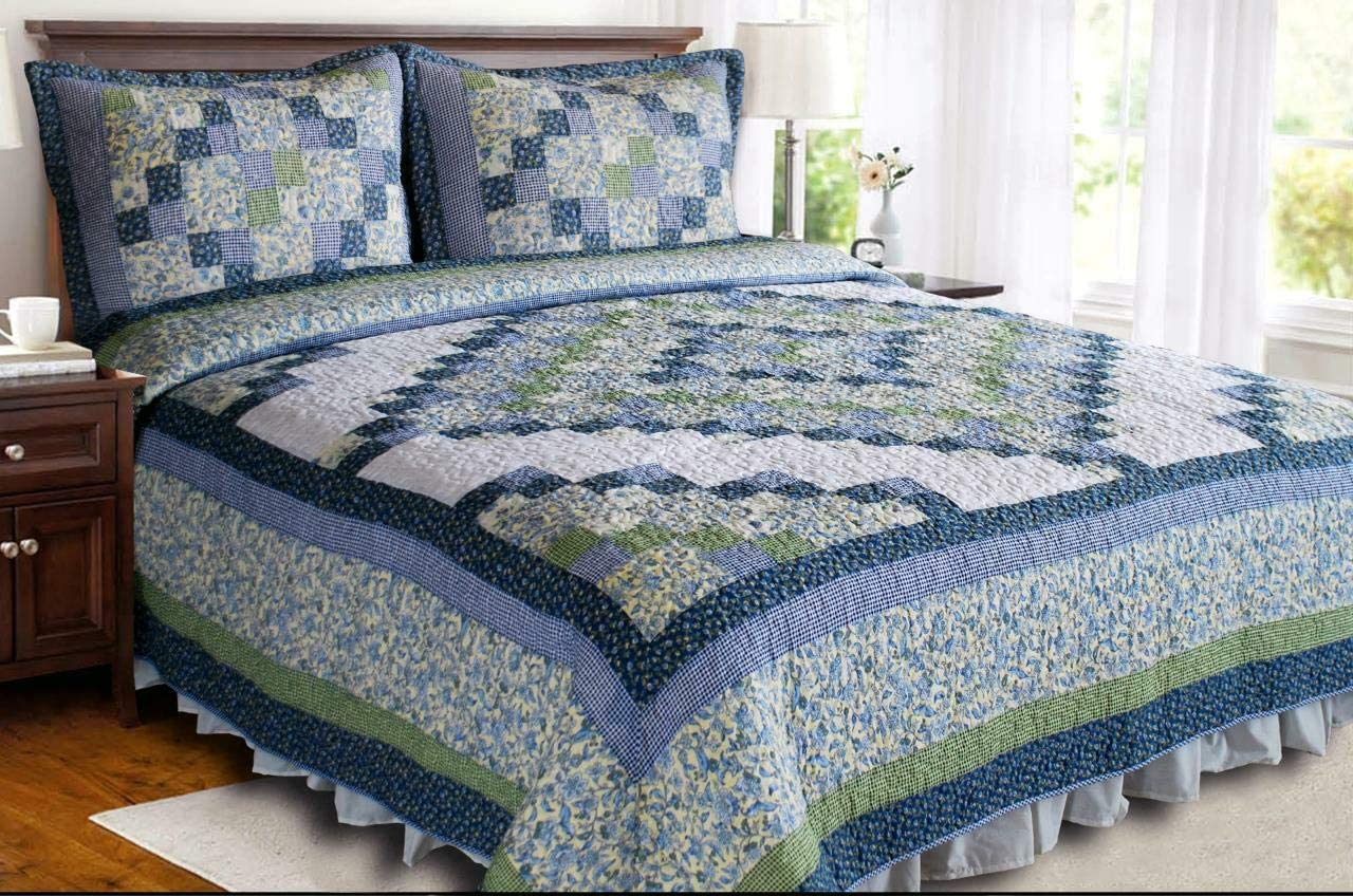 Elegant Decor Credence Blue Ridge Valley Floral Selling and selling Patchwork Co Quilt Cotton