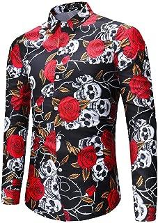 Camisa Hombre Manga Larga Estampada Flores/Ancla/Vintage/Regular Camisas Vestir Fiesta Slim Fit Cuello Mao,Camiseta Estampado Mangas Largas Cráneo Rosa