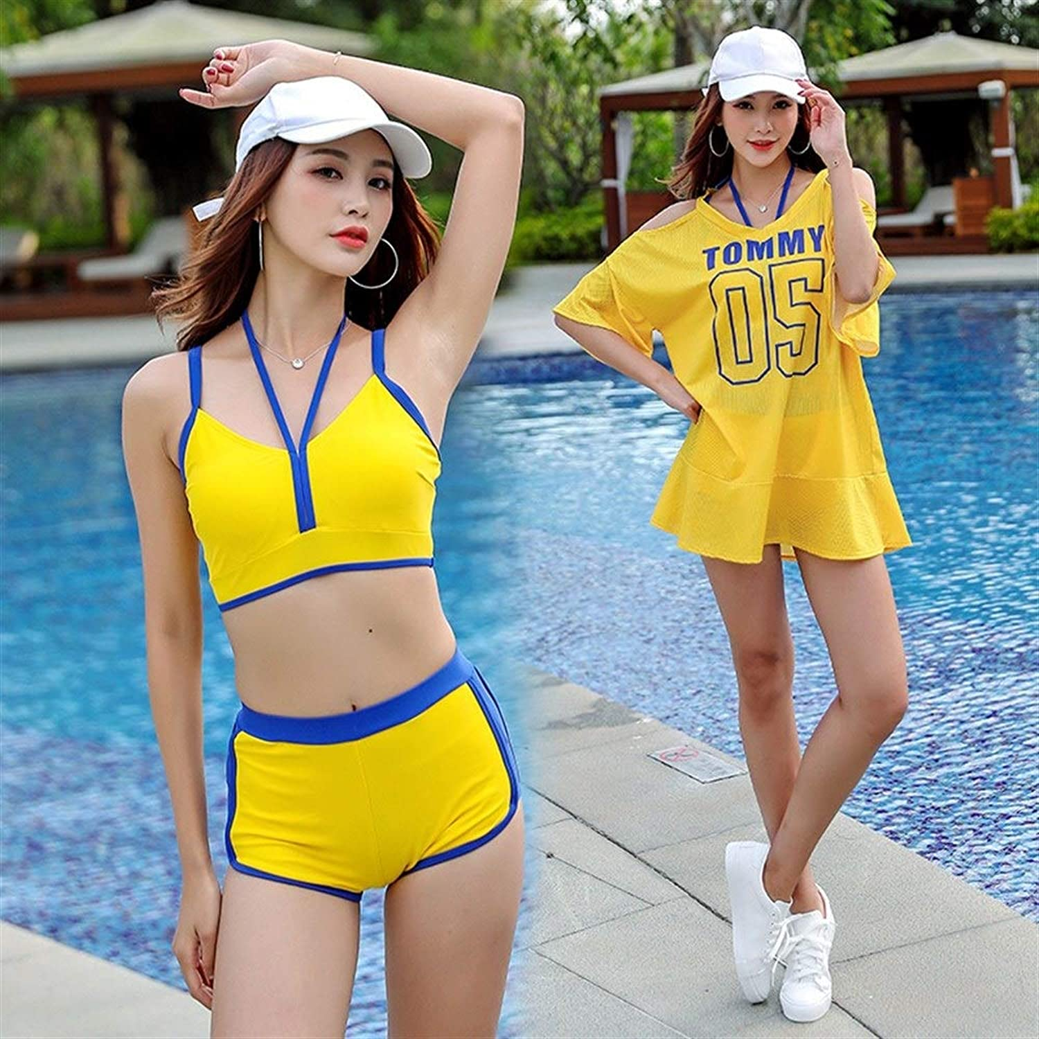 Swimsuit, New Swimwear Female Split Fashion Sports Swimwear Blouse Flat Angle hot Spring Swimsuit ThreePiece (color   Yellow, Size   L)