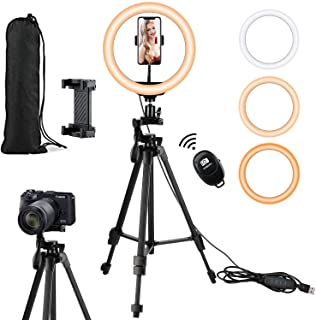 Selfie Ring Light with Tripod Stand and Phone Holder,Rimposky Led Ring Light for iPhone,26 cm Light Ring for Video Recording