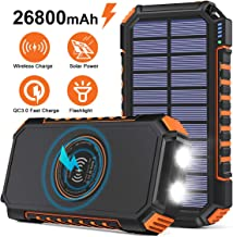 Wireless Solar Charger 26800mAh, Riapow Portable Charger with 4 Outputs & LED..