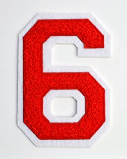 Varsity Number Patches - Red Embroidered Chenille Letterman Patch - 4 1/2 inch Iron-On Numbers (Red, Number 6 Patch)