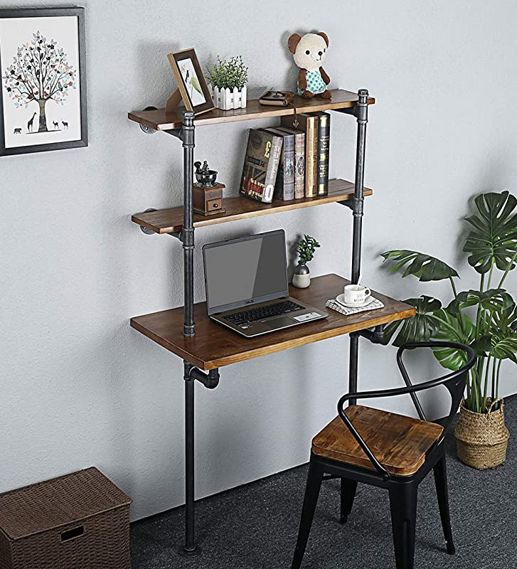 Student Homework Desk Children Study Writing Table With Storage Space Rustic Office Computer Desk With Bookcase Laptop Table Height 54 Width 19 5
