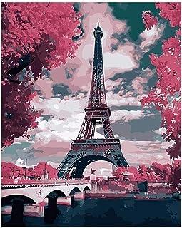 LOVEYF Malen Nach Zahlen DIY /Ölgem/älde,Paris Eiffelturm Paar Bleistift Hund Tier Menschen /Öl DIY Leinwand Malerei Mit Pinseln Und Acrylpigment F/ür Erwachsene Anf/änger M/ädchen Kinder