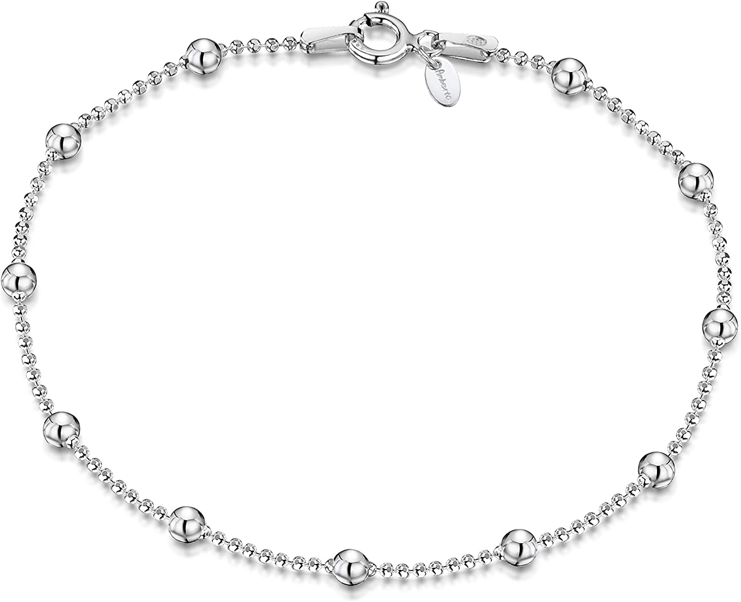 Amberta 925 Sterling Silver 3.2 mm Chain Ball Brac Bead 1.1 All items in the store NEW before selling ☆