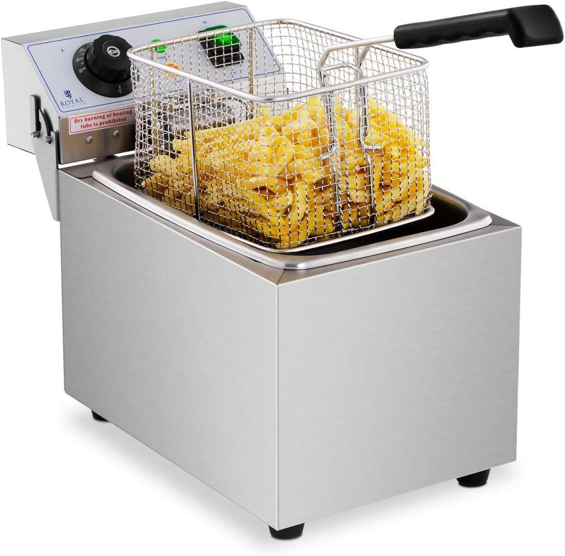 Royal Catering Freidora Electrica Profesional Para Hostelería RCEF 08EB (8 Litros, Potencia 3.200 Watt, Temperatura: 50 – 200 °C, Zona Fría, Tapa Incluida)