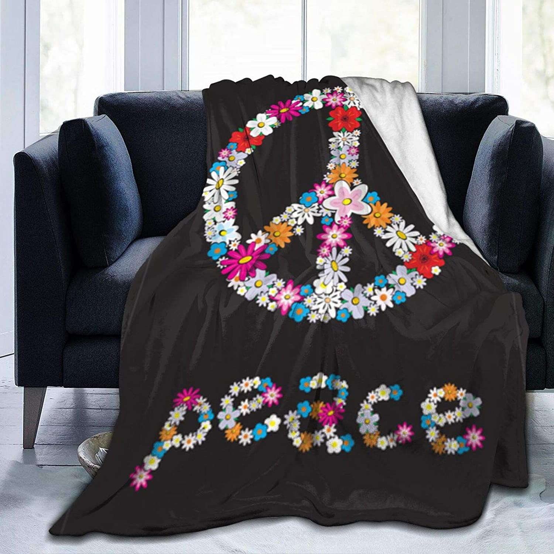 高額売筋 Dujiea Spring Peace Sign 本物 Flower Throw Fleece Flannel Symbol Blan