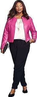 Jessica London Women's Plus Size Collarless Leather Jacket