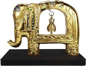 مجسمه زینتی تزئینی چوب و برنج تایلندی elephant King 'Thai (Gold_Tone) - صنایع دستی تجارت عادلانه توسط صنعتگران تایلندی
