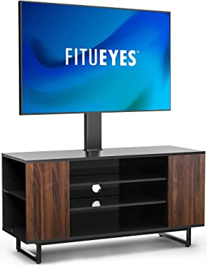 """FITUEYES TV Stand with Mount Swivel Floor Wood TV Stand for 32""""-70"""" TVS Universal Corner TV Floor Stand with Storage for Medi"""