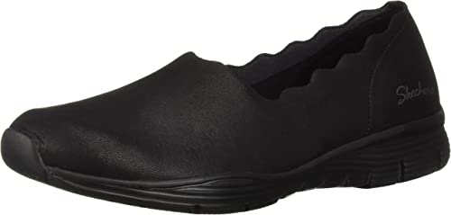 Skechers Wohommes Wohommes Seager-Triple Ripple-Scallop Collar Slip On Loafer, noir, 7.5 M US  prix plancher