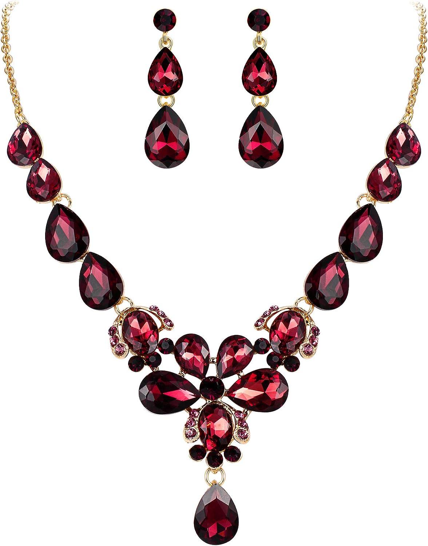 EVER FAITH Women's Wedding Jewelry Rhinestone Crystal Flower Teardrop Pendant Necklace Dangle Earrings Set