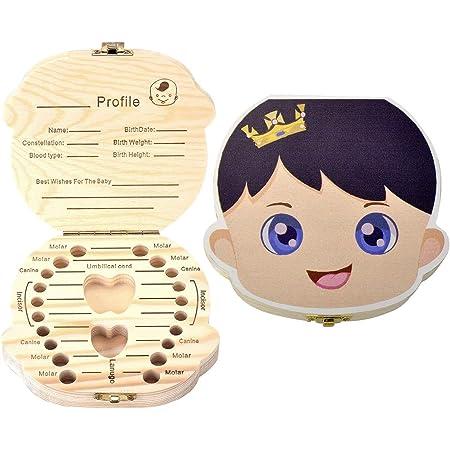 Boîte à Dents de Lait pour Bébé Dents,Boîte à dents pour enfants, boîte de rangement en bois, Boîte à Souvenirs,Cadeau Naissance Baptême Anniversaire pour Enfant Fille Garçon (Française-Garçon)