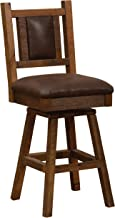 "product image for Fireside Lodge Barnwood Swivel Upholstered Bar Stool with Back - 30"" Seat Height"