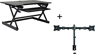 """Rocelco 40"""" Large Height Adjustable Standing Desk Converter with Dual Monitor Mount Bundle   Quick Sit Stand Up Computer Workstation Riser   Retractable Keyboard Tray   Black (R DADRB-40-DM2)"""