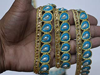 Fashion Designing Wall décor Laces Wholesale Turquoise Gold Indian Trims Beaded kundan Fancy Dresses Tape by 9 Yard Online Handbags Border gota Patti Ribbon Embellishment Crafting Trimmings