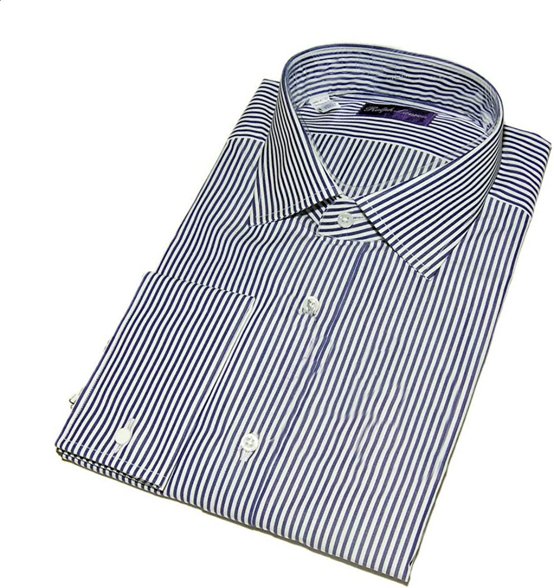 Ralph Lauren Purple Label Mens Navy Stripe Dress Shirt French Cuff Italy 15 $465