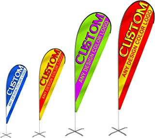 Anley Custom Teardrop Flag Single Sided 4.2 x 11.8 Ft - Fade Resitance & Craftmanship - Print Your Own Design - Indoor & Outdoor Flags Banners(Flag ONLY, Pole & Mount Not Included)