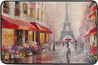 COOSUN Oil Painting Paris Eiffel Tower Doormat, Entry Way Indoor Outdoor Door Rug with Non Slip Backing, (23.6 by 15.7-Inch)