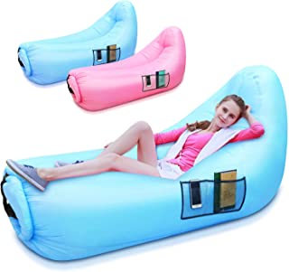 Inflatable Lounger Portable Air Couch Bed Outdoor Inflatable Beach Chair Waterproof & Anti-Air Leaking Inflatable Sofa Hammock with Carrying Bag for Backyard Lakeside Beach Camping, Travelling, Hiking