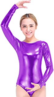 Speerise Girls Kids Long Sleeve Shiny Metallic Dance Gymnastics Leotard