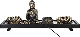 MyGift Home Zen Garden Set - Buddha Statue/Lotus Tea Light Candle Holder/Incense Burner Holder