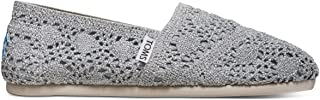 Toms Women Slip-On Shoes, 7 B(M) US, Silver Crochet Metallic