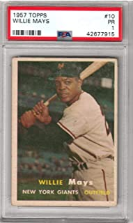 1957 Topps Baseball Willie Mays Card # 10 PSA 1 Poor Condition # 42677915