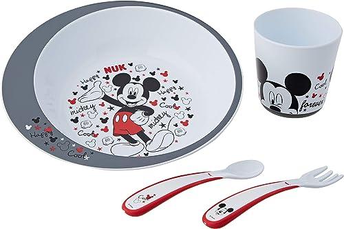 NUK - Coffret Vaisselle Bébé Disney Mickey avec Assiette, Fourchette, Cuillère et Gobelet, Passe au micro-onde - Dès ...