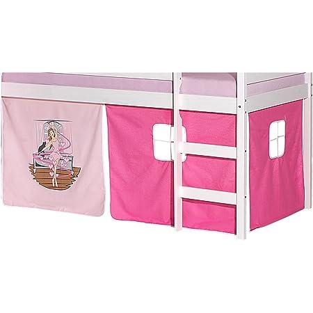IDIMEX Lot de Rideaux cabane pour lit surélevé superposé mi-Hauteur Mezzanine Tissu Coton Motif Danseuse Rose