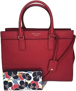 Kate Spade New York Cameron Large Satchel WKRU5849 bundled with matching Slim Bifold Wallet (Hot Chili/Breezy Floral)