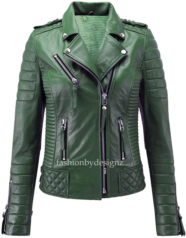 Alishbah Women's Leather Jacket Stylish Motorcycle Biker Genuine Lambskin WJ285