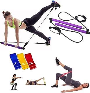 uneedthisnow Pilates Exercise Resistance Band, Yoga Pilates Bar Reformer Kit, Portable Pilates Stick Fitness Bar, Home Gym...