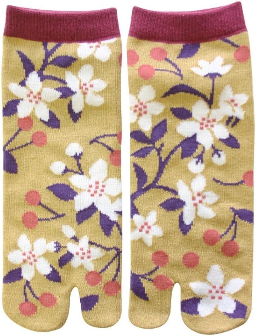 Samurai market Japanese Tabi Socks Design Sakura and Cherry, Multicolor, Unique size from 22 at 26 cm