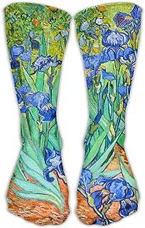 靴下 抗菌防臭 ソックス ユニセックスクラシックソックスヴァンゴッホアイリスアスレチックストッキング30 cmロング靴下1サイズ