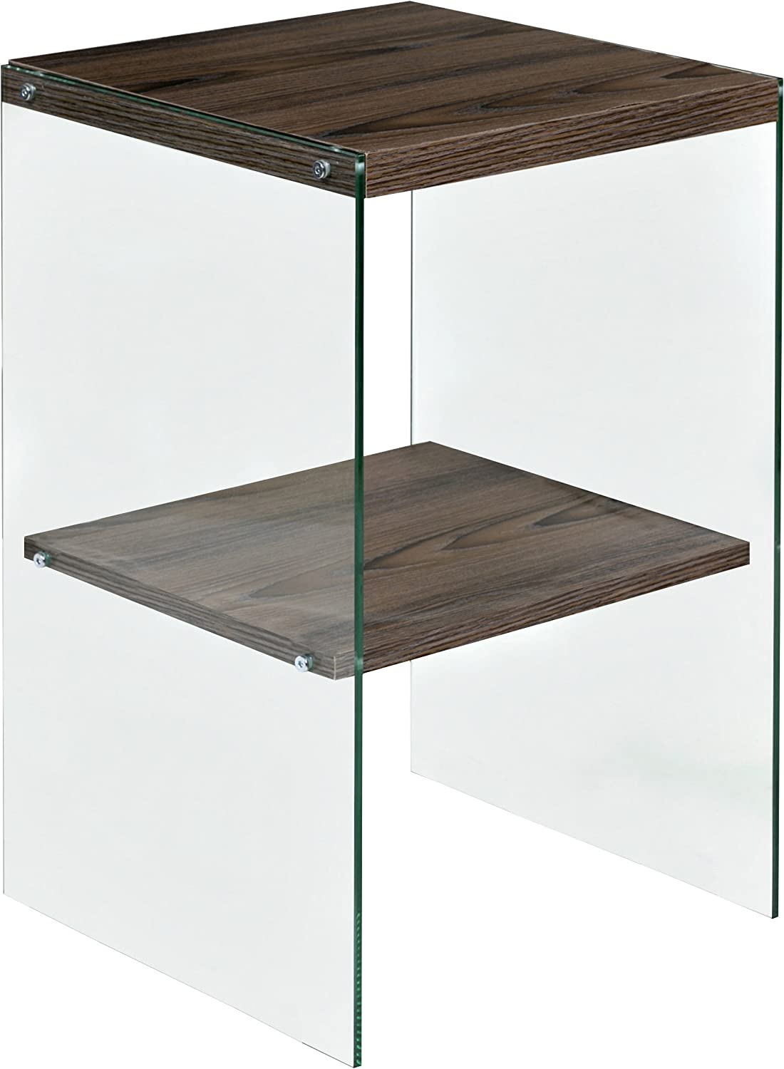 OneSpace 50-JN19ETWN Escher Skye Glass Wood Accent End Table, Walnut