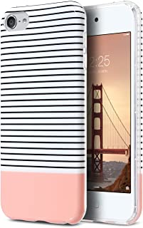 ULAK iPod Touch 7 Case, iPod 6 Case, Clear Case Slim Fit Anti-Scratch Flexible Soft TPU Bumper Hybrid Shockproof Protective Case for Apple iPod Touch 5 / 6th / 7th Generation-Minimal Rose Gold