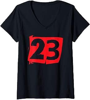 Womens Large Red Number 23 Twenty Three V-Neck T-Shirt