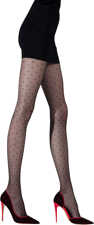 Polka Dot Tights for Women, Made in Europe, Sheer Patterned Pantyhose, Punto 20 DEN