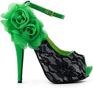 SHOW STORY Sexy Lace Peep Toe Flowers Stiletto High Heel Platform Shoes,LF30408